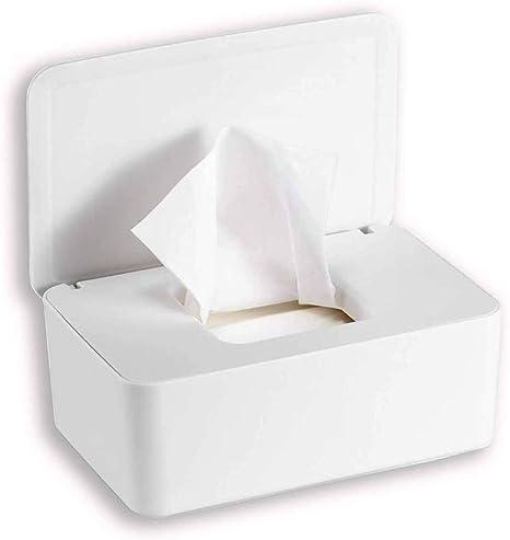 PopHMN Dispensador de toallitas, Caja dispensadora de toallitas húmedas de tejido seco con tapa de sellado Limpie el contenedor de la servilleta del contenedor para el hogar de escritorio (Blanco): Amazon.es: Bebé