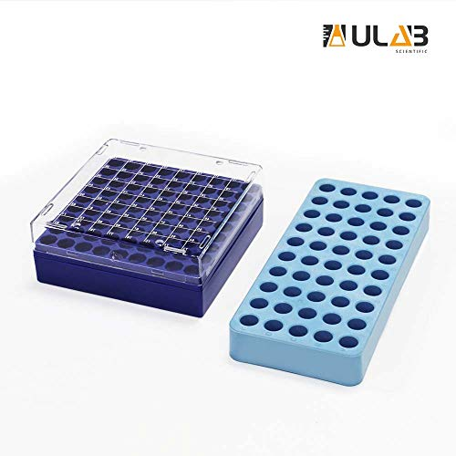 (ULAB Scientific Cryo-Safe Freezing Box and Cryotube Workstation Rack Set, 81-Place Freezing Box, 50 Holes Cryotube Workstation Rack, UCP1002)