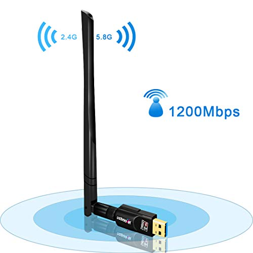 USB WiFi Adapter 1200Mbps,USB 3.0 Wireless Network WiFi Dongle with 5dBi External Antenna for PC/Desktop/Laptop/Mac, Dual Band 2.4G/5G,Support Windows 10/8/8.1/7/Vista/XP/2000, Mac10.6-10.14