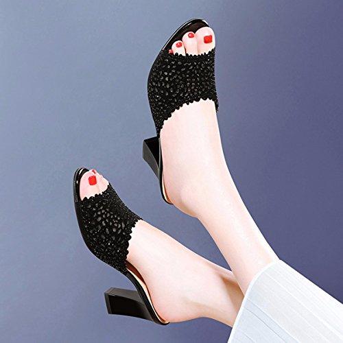 QPSSP Arrastre Y El Desgaste Fuera De, El Desgaste Aspero Y Medio Con Un Par De Taladro, Ahuecado, Tacon Zapatillas, Zapatillas, Zapatos De Mujer. black