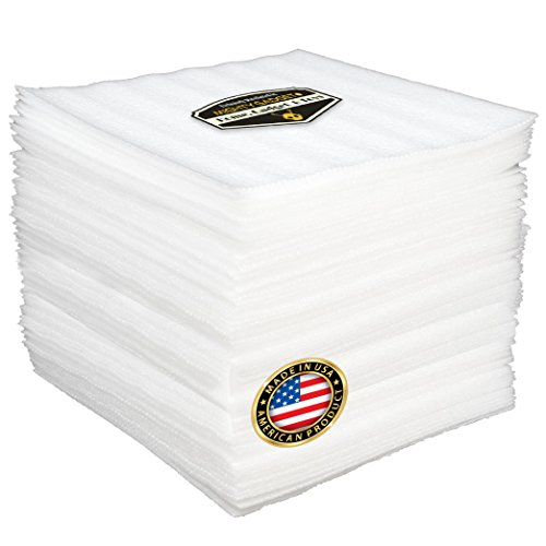 """50 Pack of Mighty Gadget (R) Cushion Foam Sheets 12"""" X 12"""", Safely Wrap Dishes, China, and Furniture, Packing Cushioning Supplies for Moving (1/8"""" Thickness)"""