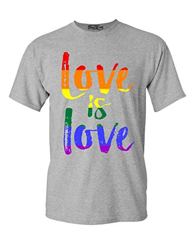 Shop4Ever Love is Love T-Shirt Gay Pride Shirts Small Sports Grey 0