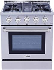 """THOR KITCHEN 30"""" Freestanding Professional Style Gas Range with 4.2 cu. ft. Oven, 4 Burners, Convection Fan, Cast Iron Grates, and Blue Porcelain Oven Interior, in Stainless Steel"""
