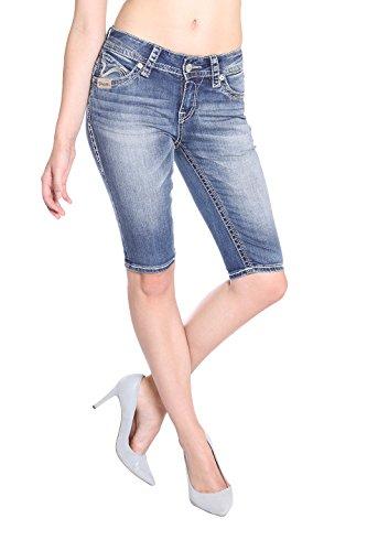 Blue Monkey Jeans Pantalón corto - Capri - Básico - para mujer Azul