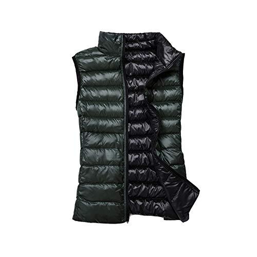 Femme Manche Ultra Hiver Zippée Gilet Veste Légère Vert Sans Pour Manteau Blouson Noir OxY1Svw1q