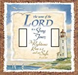 Proverbs 18:10 Double Toggle SwitchStix Peel and Stick Switch Plate Cover Décor
