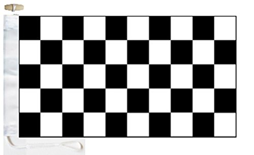 Chequered Black and White Check Boat Flag - 1 Yard  - Rope a