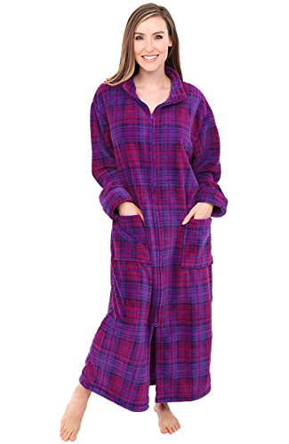 Alexander Del Rossa Womens Fleece Robe, Soft Zip-Front Bathrobe, Small Medium Purple and Pink Plaid (A0300P74MD)