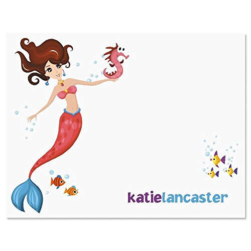 Mermaid24Kids Personalized Note Card Set - Set of 24 cards with envelopes