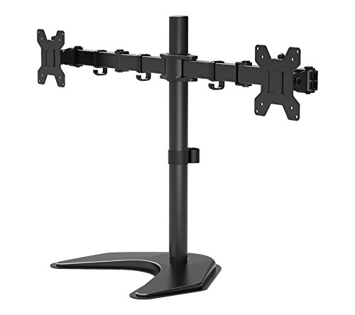 1home Dual LCD LED Monitor Desk Mount Stand Free Standing Fully Adjustable Fit Two Screens up to 27""