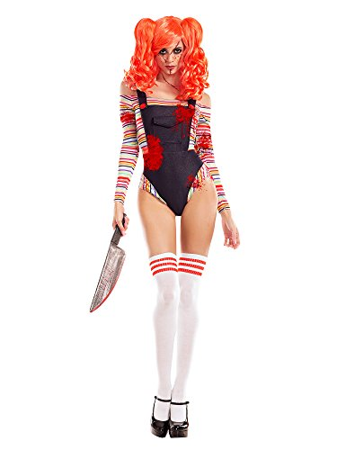 Female Chucky Halloween Costume (Party King Women's Killer Doll Costume, Denim/Multi,)