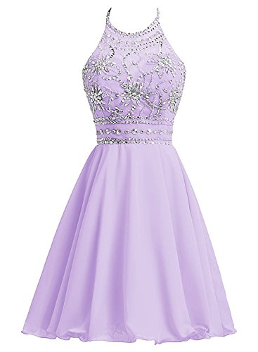 Aiyi Womens Halter Neck Beads Chiffon Homecoming Dresses Short Evening Party Gown Lavender US16W -