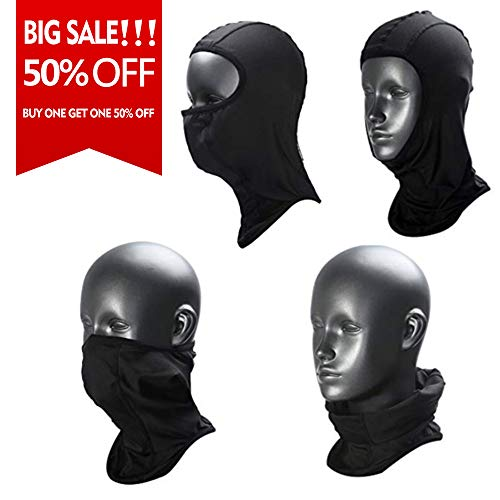 Weanas Balaclava - Windproof Ski Mask - Cold Weather Face Mask Motorcycle Neck Warmer - Tactical Balaclava Hood - Super Comfy Hypoallergenic Moisture Wicking (Black-L) - Open Face Balaclava