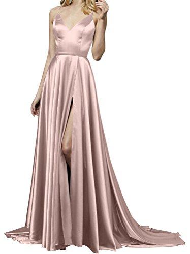 Langes Kleider Kleid Elegant Rot Satin Abendkleid Damen Festliche qwEpFI
