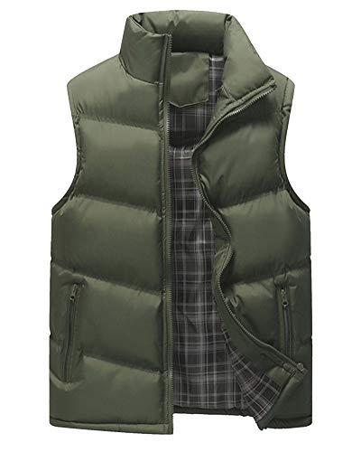 Homme Armée Col Casual Zippée Veste Unie Poche Montant Manches Couleur Gilet Sans Blouson Vert OrO4xBw