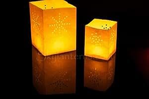 192 x Mini White Candle - bolsas de vela de cristal ideal para uso en interiores o al aire libre, reutilizable