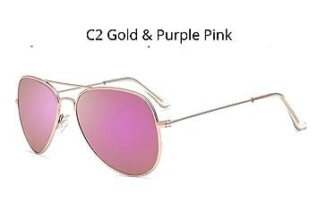 Gafas De Sol Bastidor De Metal Retro Rosa Púrpura Oro Piloto ...
