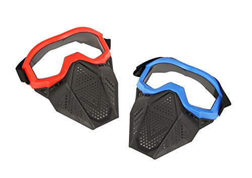 Surper 2 Pack Face Mask Tactical Mask Compatible with Nerf Rival, Apollo, Zeus, Khaos, Atlas, Artemis Blasters Rival Mask (Red&Blue)