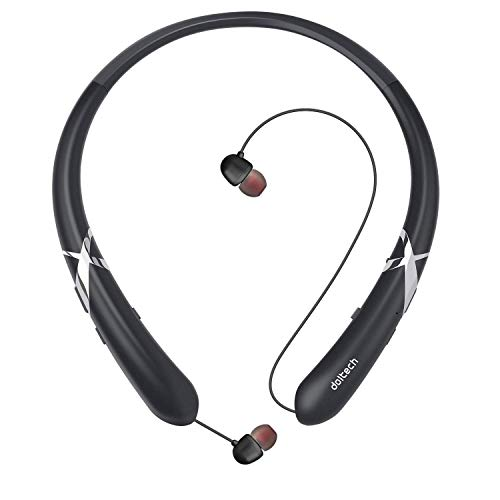 DolTech BBH-919 Bluetooth Headphones Sports Sweatproof Wireless Headphones Neckband Retractable Headset Stereo Noise Cancelling Earbuds w/Mic (Rosegold)