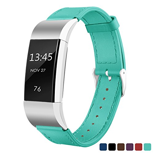 Sahiyeah Band Compatible for Fitbit Charge 2 Superior Genuine Leather Replacement Wrist Bands with Metal Connectors,Mint -