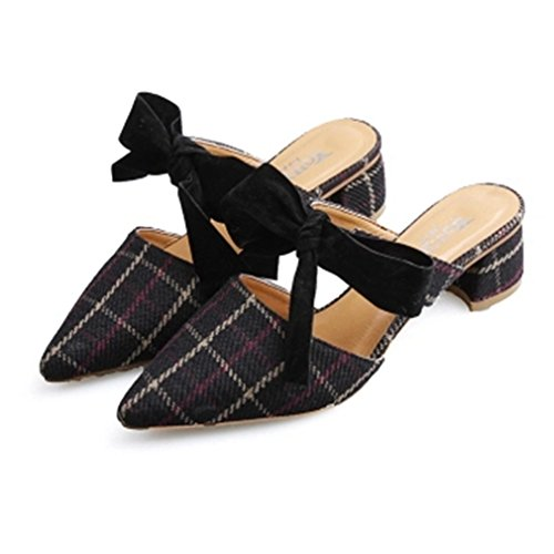 Pointed Slippers Strap On Toe Loafers Velvet Slip Mules Women Loafers Pumps for Black Grid Bow Backless WHRSnzq
