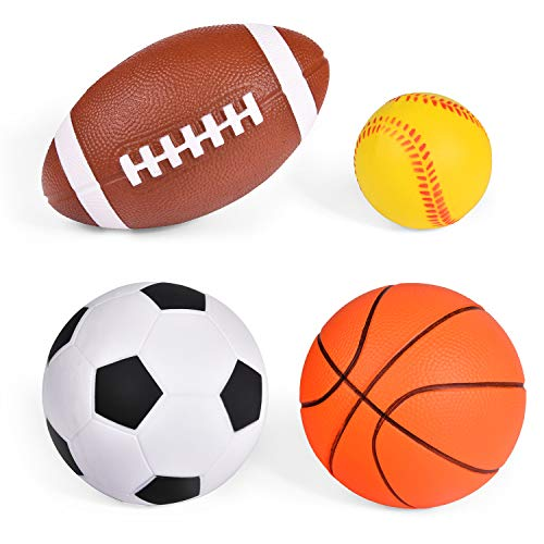 (Soft PU Sports Balls for Kids, Stress Balls, Sports Party Favor (Football, Baseball, Basketball and Soccer Ball))