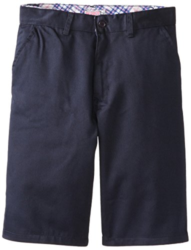 Back Elastic Twill Shorts (Genuine Big Girls Twill Bermuda Shorts, Navy,)