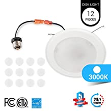 12-Pack LEDMyplace 5/6-inch Dimmable LED Disk Light Flush Mount Ceiling Fixture, 15W (120W Replacement), 3000K , ENERGY