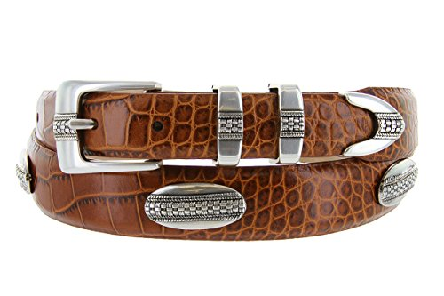 St. Andrews Silver - Italian Alligator Embossed Golf Belt with Conchos (Alligator TAN, 44)