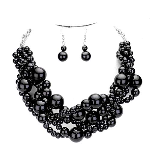 Fashion 21 Women's Simulated Faux Braided, Twist Multi-Strand Pearl Statement Collar Necklace and Earrings Set (Twisted - Black) ()