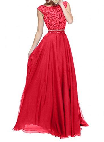 Braut La Rot Abendkleider Chiffon Marie Pink Kleider Jugendweihe Zwei Wunderschoen teilig Abschlussballkleider 5Bw16Bq
