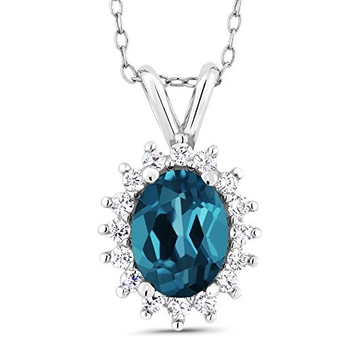1.54 Ct Oval London Blue Topaz 925 Sterling Silver Pendant (Topaz Sterling Pendant)