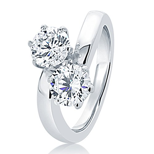 HB AMERICA Sterling Silver Wedding Ring Round 1.7ct CZ Two-Stone by-your-side Engagement Ring 12MM (Size 5 to 10), 7 (Bypass Stone Ring Two)