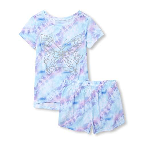 The Children's Place Big Girls' Novelty Printed Shorts Pajama Set, Multi CLR, M (7/8)