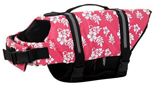 Woo Woo Pets Dog Life Jacket Adjustable Dog Life Preserver Pink Flower XS