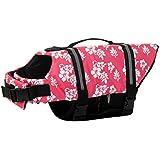 Woo Woo Pets Dog Life Jacket Adjustable Dog Life Preserver Pink Flower L