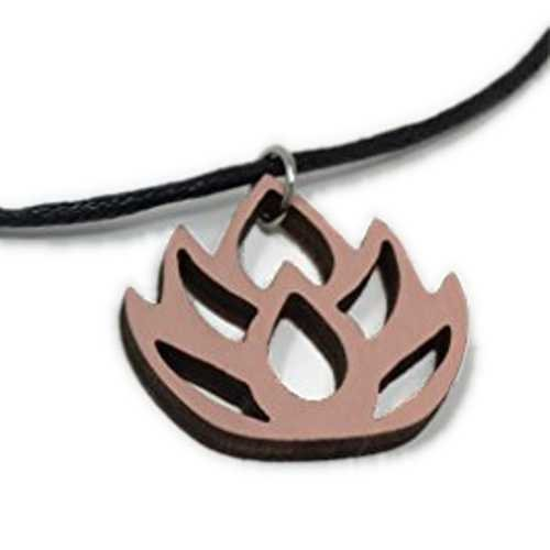 Pink Lotus Flower Choker Necklace | Pastel Handmade Natural Wood Pendant Jewelry | Cute Easter Gift for Her