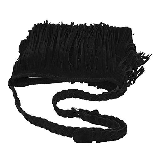 Leather Handbag Body Women Fringed for Shoulder Shoulder Simple Braided Tassels Cross PU Bags Strap Vbiger Black Bag 7RFYYz
