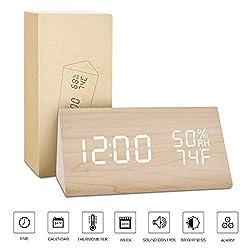 BlaCOG Alarm Clock Display Time Date Temperature,Wooden Alarm Clock for Bedroom,Digital clock Adjustable Brightness Voice Control-Bamboo/White