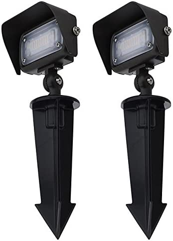 MarsLG Series-7 Low Voltage Compact 12W LED Landscape Flood Light with 1 2 Threaded Knuckle Mount, Ground Stake, and Glare Shield 2-Pack , White 5000K, 36FL01WHx2