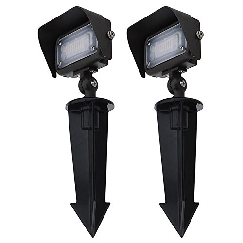 "MarsLG Series-7 Low Voltage Compact 12W LED Landscape Flood Light with 1/2"" Threaded Knuckle Mount, Ground Stake, and Glare Shield (2-Pack), Warm White 3000K, 36FL01WWx2"
