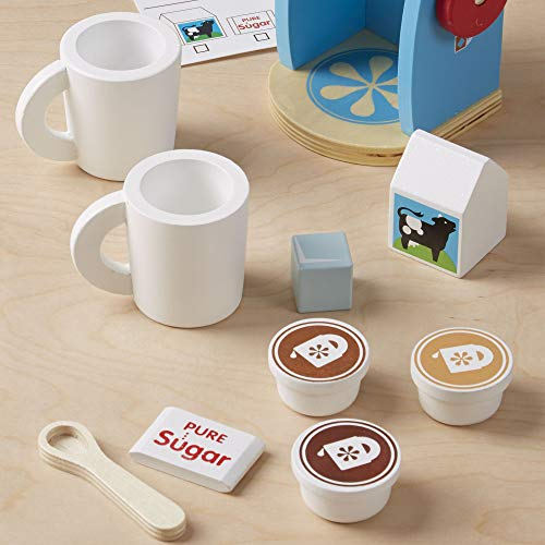 "Melissa & Doug Brew & Serve Wooden Coffee Maker Set, Play Kitchen Accessories, Encourages Imaginative Play, 12 Pieces, 10"" H x 13"" W x 4"" L"