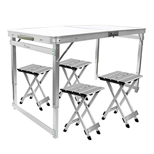 FrenzyBird 4-Person Folding Picnic Table with 4 Aluminum Chairs, Height Adjustable,Portable and Lightweight,for Outdoor,Camping,Picnic,BBQ,Party and Dining ...