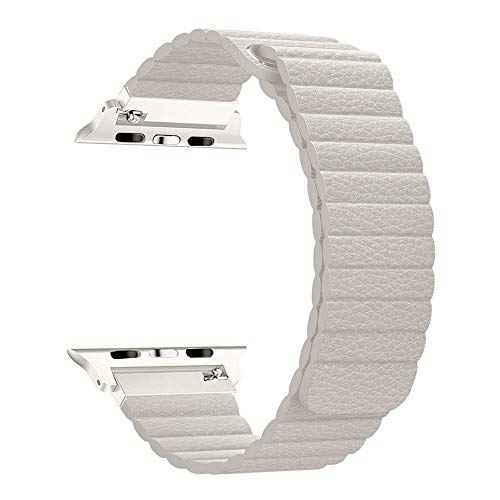 RUOQINI Compatible with Apple Watch Band 40mm [Series 4] 38mm [Series 3/2/1],Strong Magnetic Closure Leather Loop Replacement Starp Compatible for iWatch,Beige,M