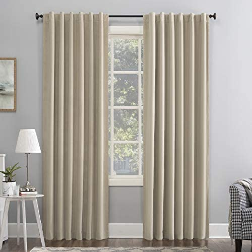 Sun Zero Hampshire Velvet Noise Reducing Thermal Extreme 100 Blackout Back Tab Curtain Panel, 50 x 84 , Ecru Off-White