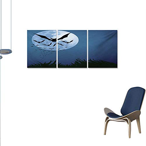 WinfreyDecor Halloween Canvas Wall Art Set A Cloud of Bats Flying Through The Night with a Full Moon Fall Season Wall Stickers 24