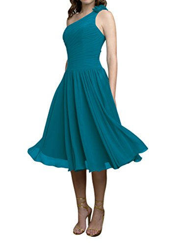 WeiYin Women's One Shoulder Short Party Dress Bridesmaid Dresses Teal US (Designer Bridesmaid Dresses)