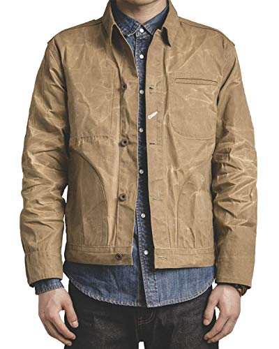 (MADEN Men's Waxed Canvas Cotton Jacket Military Light Spring Work Jacket Khaki)