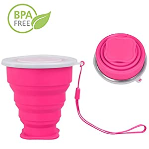 R&L COLLAPSIBLE CUP with Lid - Small Reusable Soft Silicone Folding Cups - Portable Travel Cup for Drinking Water, Tea, Coffee and Wine - Great for Camping Hiking Picnic (Pink)