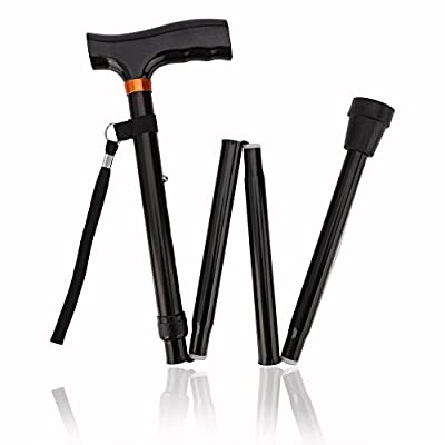 Trekking Poles, Walking Stick for Men Women Portable Trail Poles Folding Cane with T Handle, Lightweight,Quick Locks,Anti Shock, Rubber Base for Hiking Camping